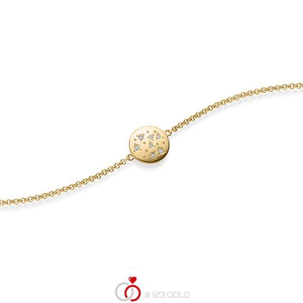 Armband met hanger in geelgoud 14 kt. met in totaal 0,05 ct. tw/si van acredo - A-1871-2