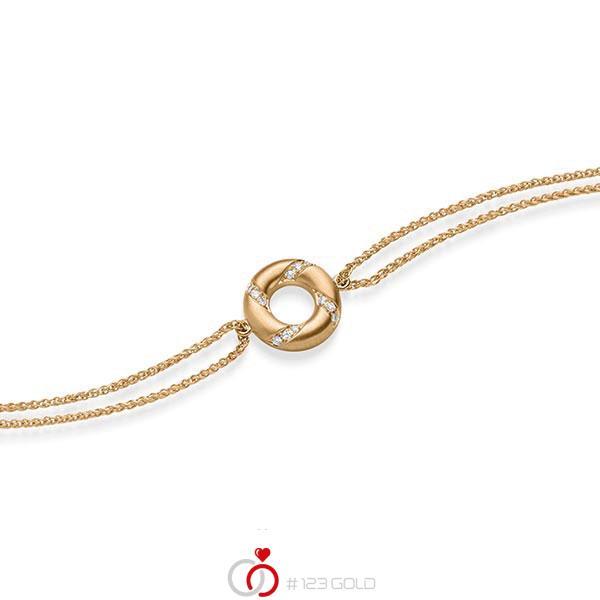Armband met hanger in roségoud 14 kt. met in totaal 0,06 ct. tw/si van acredo - A-1868-2