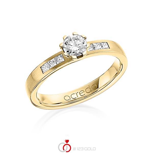 klassischer Trauring/Ehering in Gelbgold 750 mit 0,4 ct. + zus. 0,18 ct. Brillant & Prinzess-Diamant tw, vs tw, si von acredo - A-1268-17