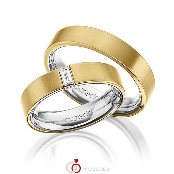 Paar bicolor Trauringe/Eheringe in außen Gelbgold 750 , innen Platin 950 mit zus. 0,2 ct. Baguette-Diamant tw, vs von acredo - A-1470-13