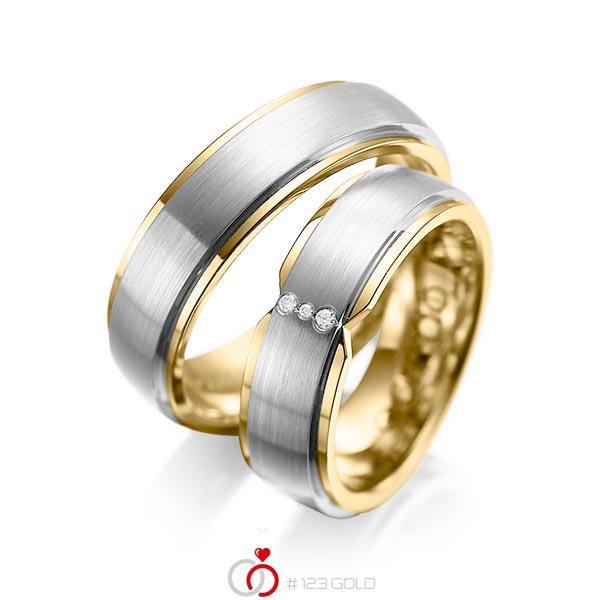 Paar bicolor Trauringe/Eheringe in außen Graugold 585 , innen Gelbgold 585 mit zus. 0,025 ct. Brillant tw, si von acredo - A-1063-5