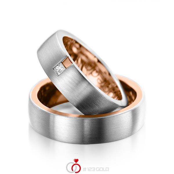 Paar bicolor Trauringe/Eheringe in außen Graugold 585 , innen Rotgold 585 mit zus. 0,06 ct. Prinzess-Diamant tw, si von acredo - A-1091-1