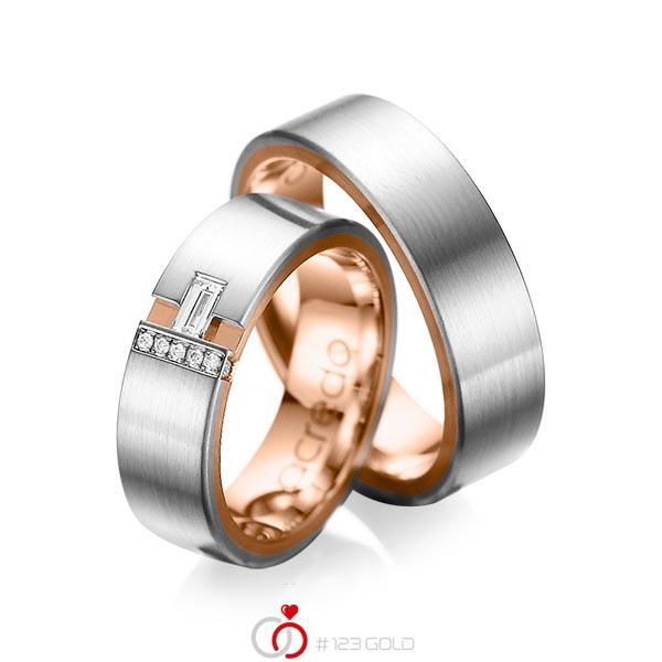 Paar bicolor Trauringe/Eheringe in außen Graugold 585 , innen Rotgold 585 mit zus. 0,155 ct. Baguette-Diamant & Brillant tw, vs tw, si von acredo - A-1066-1