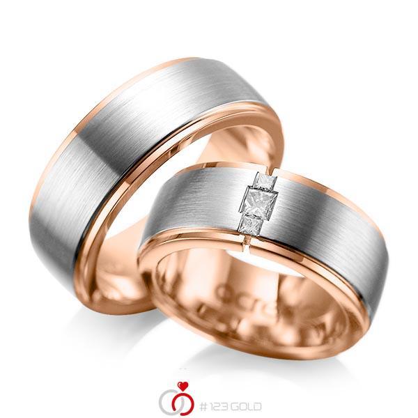 Paar bicolor Trauringe/Eheringe in außen Graugold 585 , innen Rotgold 585 mit zus. 0,21 ct. Prinzess-Diamant tw, si von acredo - A-1087-1