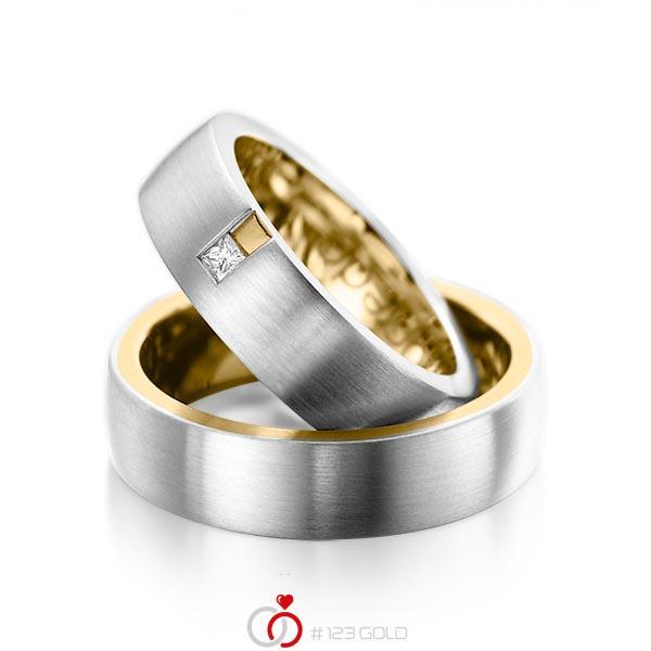 Paar bicolor Trauringe/Eheringe in außen Platin 950 , innen Gelbgold 750 mit zus. 0,06 ct. Prinzess-Diamant tw, si von acredo - A-1091-9