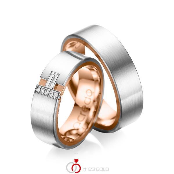 Paar bicolor Trauringe/Eheringe in außen Platin 950 , innen Rotgold 750 mit zus. 0,155 ct. Baguette-Diamant & Brillant tw, vs tw, si von acredo - A-1066-2