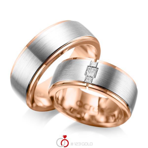 Paar bicolor Trauringe/Eheringe in außen Platin 950 , innen Rotgold 750 mit zus. 0,21 ct. Prinzess-Diamant tw, si von acredo - A-1087-2
