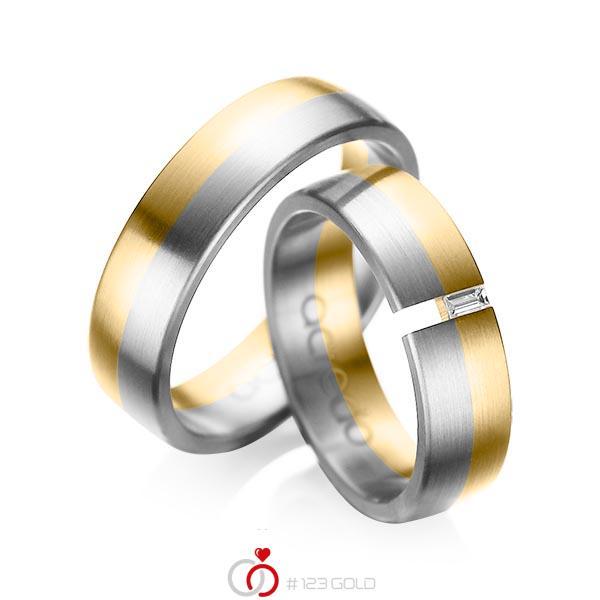 Paar bicolor Trauringe/Eheringe in Gelbgold 585 Graugold 585 mit zus. 0,05 ct. Baguette-Diamant tw, vs von acredo - A-1035-4