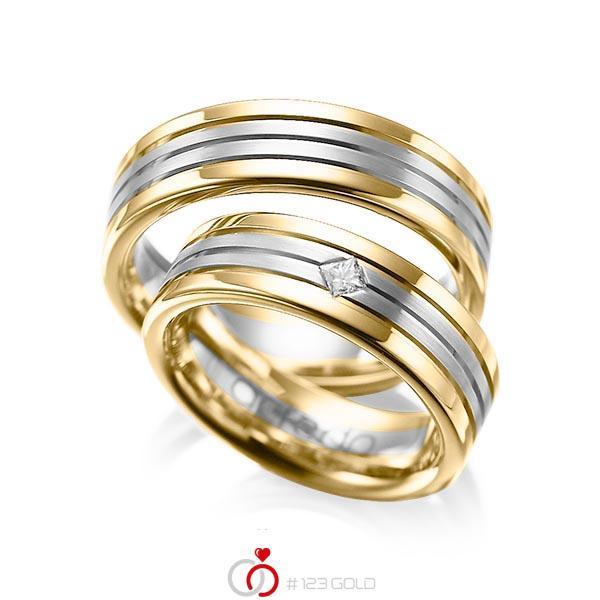 Paar bicolor Trauringe/Eheringe in Gelbgold 585 Graugold 585 mit zus. 0,08 ct. Prinzess-Diamant tw, si von acredo - A-1023-1