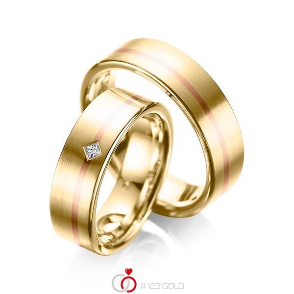 Paar bicolor Trauringe/Eheringe in Gelbgold 585 Rotgold 585 mit zus. 0,03 ct. Prinzess-Diamant tw, si von acredo - A-1060-1