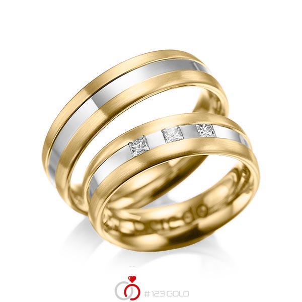 Paar bicolor Trauringe/Eheringe in Gelbgold 585 Weissgold 585 mit zus. 0,18 ct. Prinzess-Diamant tw, si von acredo - A-1021-10