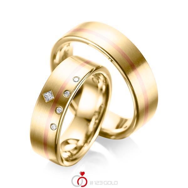 Paar bicolor Trauringe/Eheringe in Gelbgold 750 Rotgold 750 mit zus. 0,07 ct. Brillant & Prinzess-Diamant tw, si tw, vs von acredo - A-1038-1