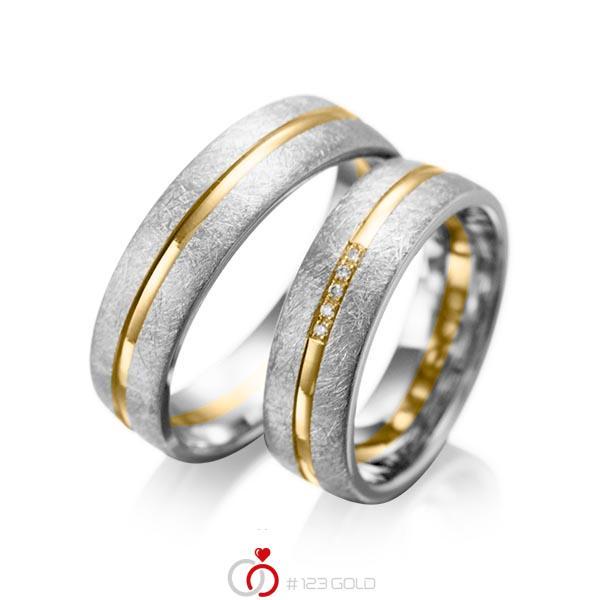 Paar bicolor Trauringe/Eheringe in Graugold 585 Gelbgold 585 mit zus. 0,025 ct. Brillant tw, si von acredo - A-1007-5