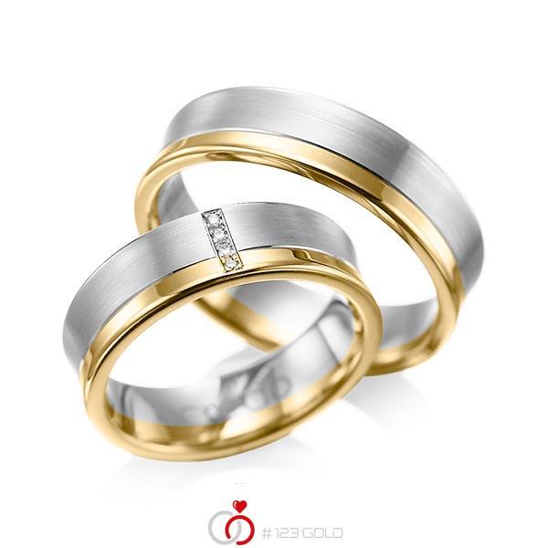 Paar bicolor Trauringe/Eheringe in Graugold 585 Gelbgold 585 mit zus. 0,02 ct. Brillant tw, si von acredo - A-1053-6