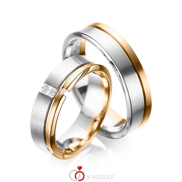 Paar bicolor Trauringe/Eheringe in Graugold 585 Roségold 585 mit zus. 0,05 ct. Brillant tw, si von acredo - A-1088-11