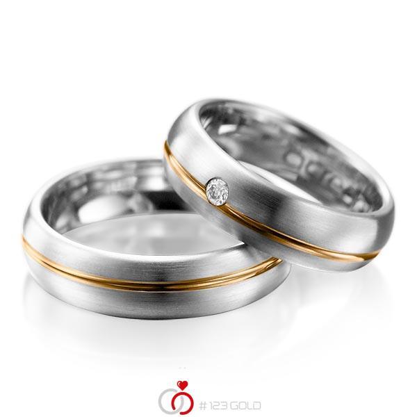 Paar bicolor Trauringe/Eheringe in Graugold 585 Roségold 585 mit zus. 0,06 ct. Brillant tw, si von acredo - A-1003-9