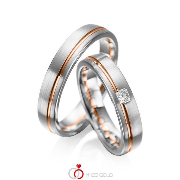 Paar bicolor Trauringe/Eheringe in Graugold 585 Rotgold 585 mit zus. 0,08 ct. Prinzess-Diamant tw, si von acredo - A-1018-5