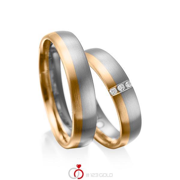 Paar bicolor Trauringe/Eheringe in Graugold dunkel 585 Roségold 585 mit zus. 0,045 ct. Brillant tw, si von acredo - A-1010-13