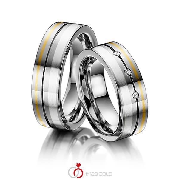 Paar bicolor Trauringe/Eheringe in Innen Edelstahl , außen Edelstahl Feingold 999 Silber 999 mit zus. 0,045 ct. Brillant tw, si von 123gold - E-2016-1