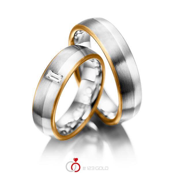 Paar bicolor Trauringe/Eheringe in Roségold 750 Graugold 750 Platin 950 mit zus. 0,1 ct. Baguette-Diamant tw, vs von acredo - A-1002-9