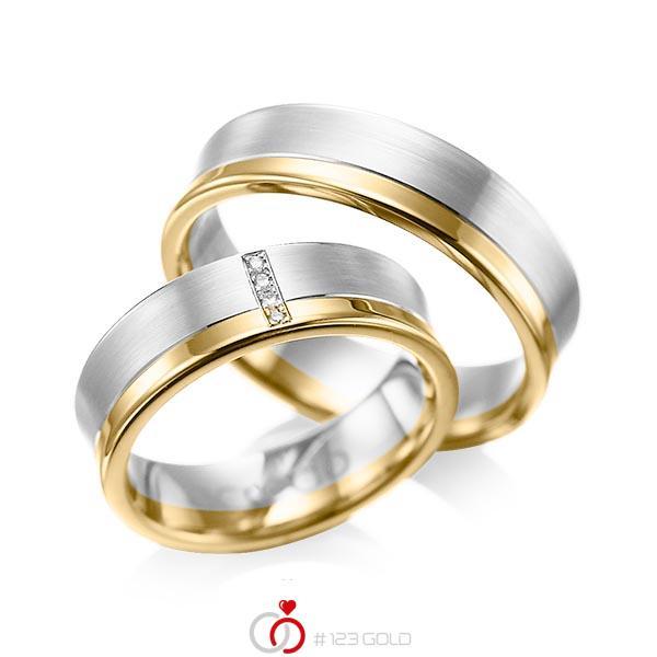 Paar bicolor Trauringe/Eheringe in Weissgold 585 Gelbgold 585 mit zus. 0,02 ct. Brillant tw, si von acredo - A-1053-3