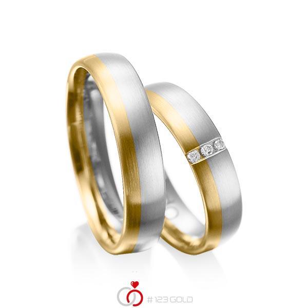 Paar bicolor Trauringe/Eheringe in Weißgold 585 Gelbgold 585 mit zus. 0,045 ct. Brillant tw, si von acredo - A-1010-4