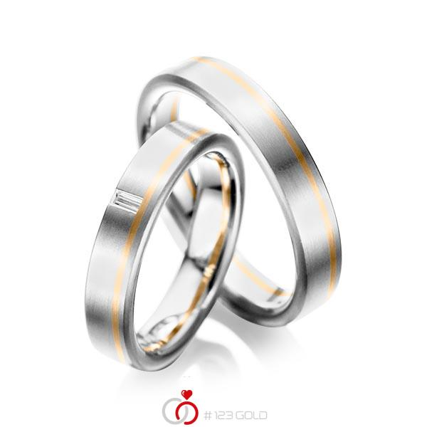 Paar bicolor Trauringe/Eheringe in Weißgold 585 Roségold 585 mit zus. 0,05 ct. Baguette-Diamant tw, vs von acredo - A-1022-5
