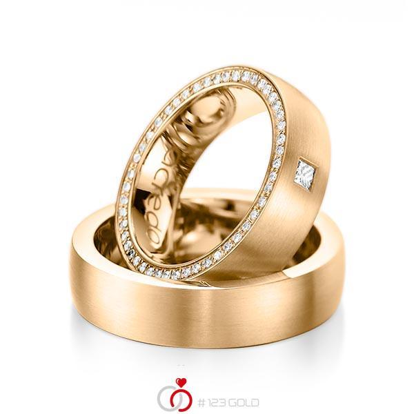 Paar klassische Memoire-Trauringe/Eheringe in Roségold 585 vollausgefasst mit zus. 0,355 ct. Prinzess-Diamant & Brillant tw, vs tw, si von acredo - A-1071-5