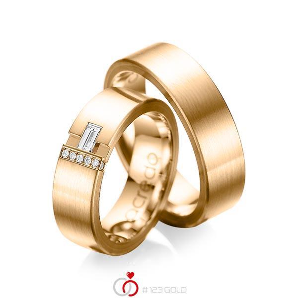 Paar klassische Trauringe/Eheringe in außen Roségold 585 , innen Roségold 585 mit zus. 0,155 ct. Baguette-Diamant & Brillant tw, vs tw, si von acredo - A-1066-11