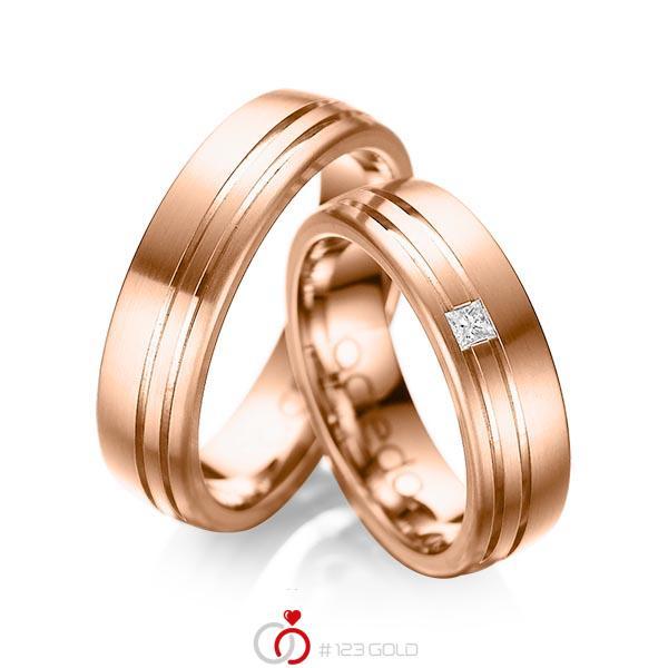 Paar klassische Trauringe/Eheringe in außen Rotgold 585 , innen Rotgold 585 mit zus. 0,05 ct. Prinzess-Diamant tw, si von acredo - A-1040-6