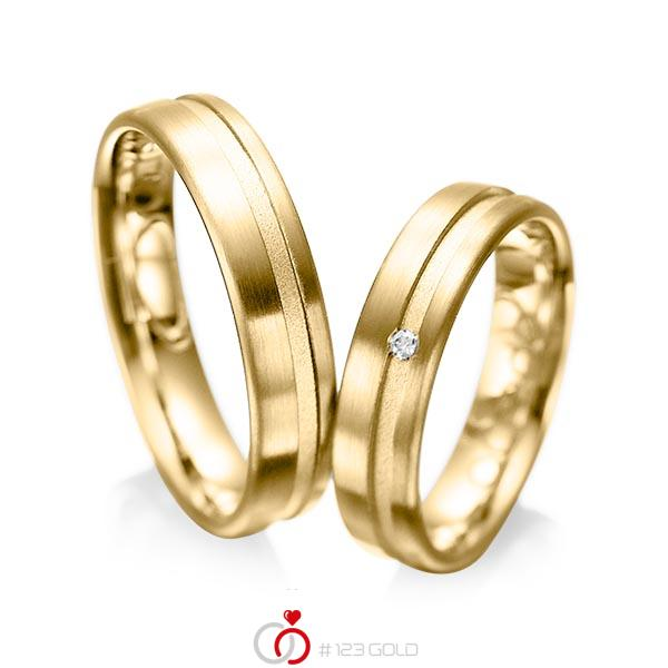 Paar klassische Trauringe/Eheringe in Gelbgold 585 mit zus. 0,02 ct. Brillant tw, si von acredo - A-1044-4