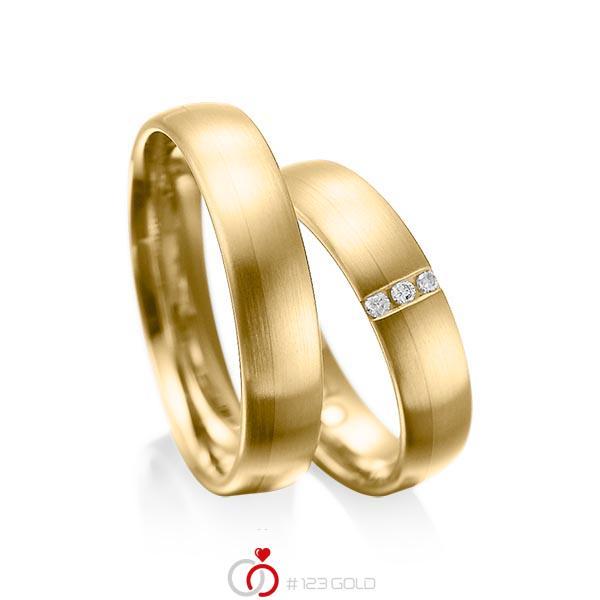 Paar klassische Trauringe/Eheringe in Gelbgold 585 mit zus. 0,045 ct. Brillant tw, si von acredo - A-1010-9