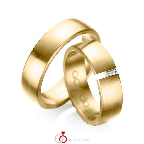 Paar klassische Trauringe/Eheringe in Gelbgold 585 mit zus. 0,05 ct. Baguette-Diamant tw, vs von acredo - A-1035-10