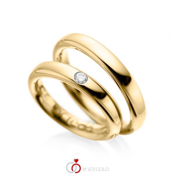 Paar klassische Trauringe/Eheringe in Gelbgold 585 mit zus. 0,08 ct. Brillant tw, si von acredo - A-1008-1