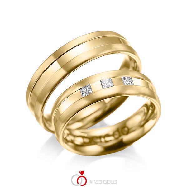 Paar klassische Trauringe/Eheringe in Gelbgold 585 mit zus. 0,18 ct. Prinzess-Diamant tw, si von acredo - A-1021-5