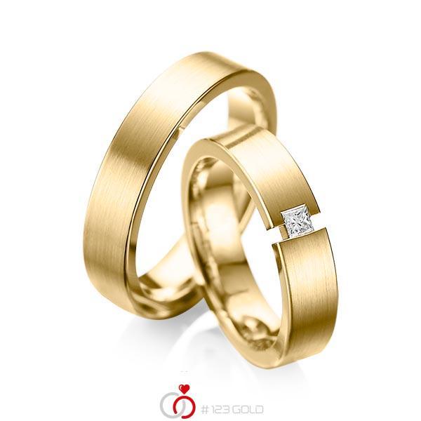 Paar klassische Trauringe/Eheringe in Gelbgold 585 mit zus. 0,1 ct. Prinzess-Diamant tw, si von acredo - A-1041-6