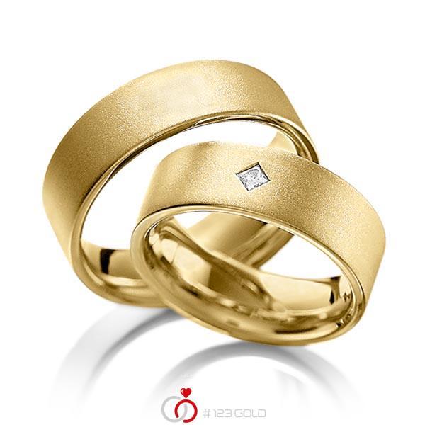 Paar klassische Trauringe/Eheringe in Gelbgold 585 mit zus. 0,1 ct. Prinzess-Diamant tw, vs von acredo - A-1093-4