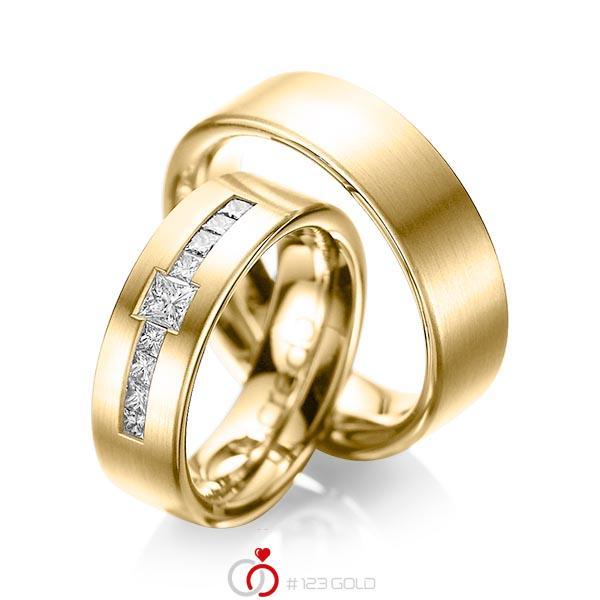 Paar klassische Trauringe/Eheringe in Gelbgold 585 mit zus. 0,52 ct. Prinzess-Diamant tw, si von acredo - A-1050-3