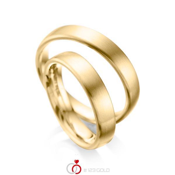 Paar klassische Trauringe/Eheringe in Gelbgold 585 von acredo - A-1081-1
