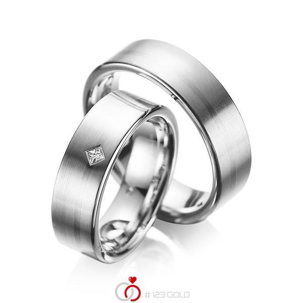 Paar klassische Trauringe/Eheringe in Graugold 585 mit zus. 0,03 ct. Prinzess-Diamant tw, si von acredo - A-1060-2