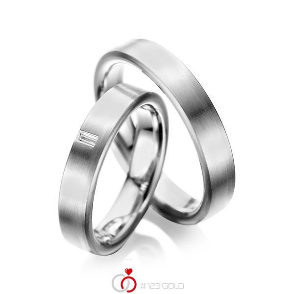 Paar klassische Trauringe/Eheringe in Graugold 585 mit zus. 0,05 ct. Baguette-Diamant tw, vs von acredo - A-1022-7