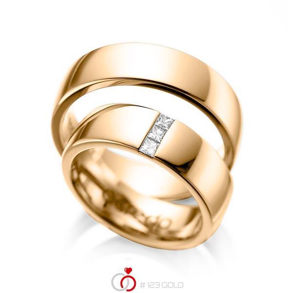 Paar klassische Trauringe/Eheringe in Roségold 585 mit zus. 0,15 ct. Prinzess-Diamant tw, si von acredo - A-1056-5
