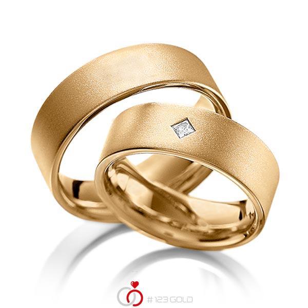 Paar klassische Trauringe/Eheringe in Roségold 585 mit zus. 0,1 ct. Prinzess-Diamant tw, vs von acredo - A-1093-3