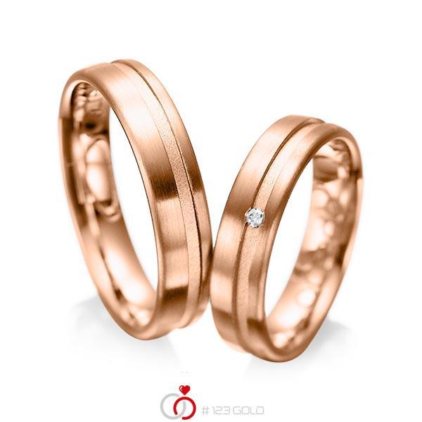 Paar klassische Trauringe/Eheringe in Rotgold 585 mit zus. 0,02 ct. Brillant tw, si von acredo - A-1044-6