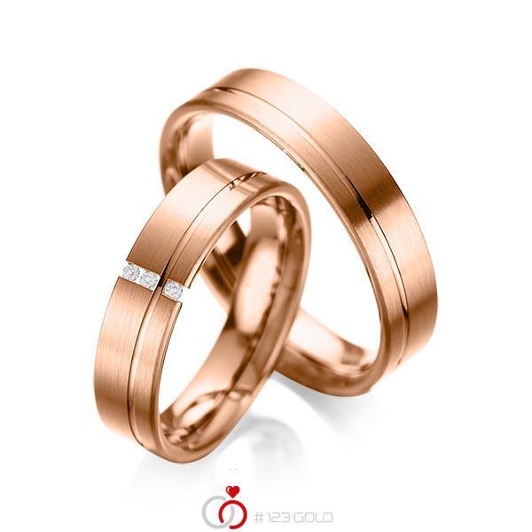 Paar klassische Trauringe/Eheringe in Rotgold 585 mit zus. 0,03 ct. Brillant tw, si von acredo - A-1037-12