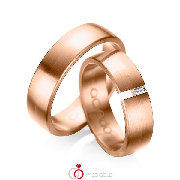 Paar klassische Trauringe/Eheringe in Rotgold 585 mit zus. 0,05 ct. Baguette-Diamant tw, vs von acredo - A-1035-8
