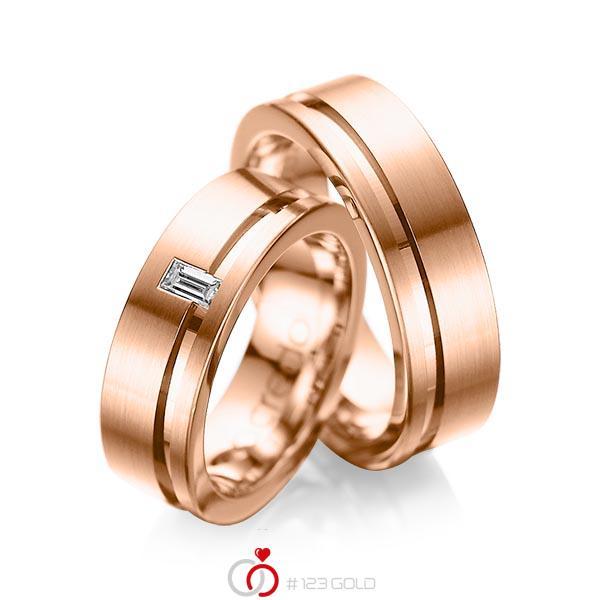 Paar klassische Trauringe/Eheringe in Rotgold 585 mit zus. 0,12 ct. Baguette-Diamant tw, vs von acredo - A-1017-6