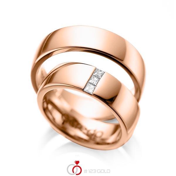 Paar klassische Trauringe/Eheringe in Rotgold 585 mit zus. 0,15 ct. Prinzess-Diamant tw, si von acredo - A-1056-6
