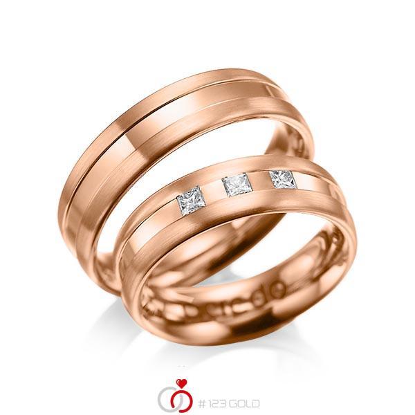 Paar klassische Trauringe/Eheringe in Rotgold 585 mit zus. 0,18 ct. Prinzess-Diamant tw, si von acredo - A-1021-7