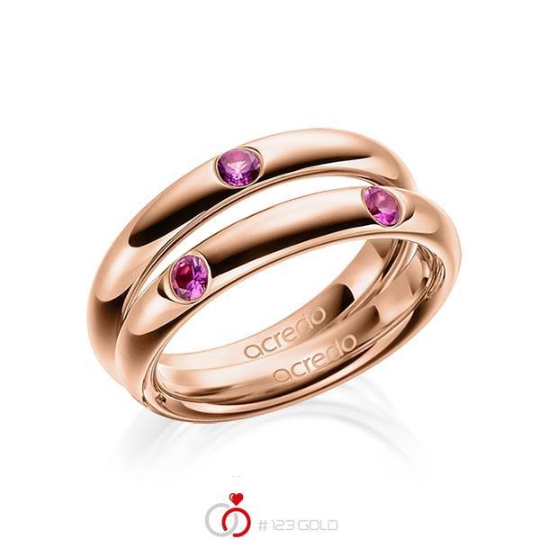 Paar klassische Trauringe/Eheringe in Rotgold 585 mit zus. 0,48 ct. Brillant Saphir Pink (A 10) von acredo - A-1918-4